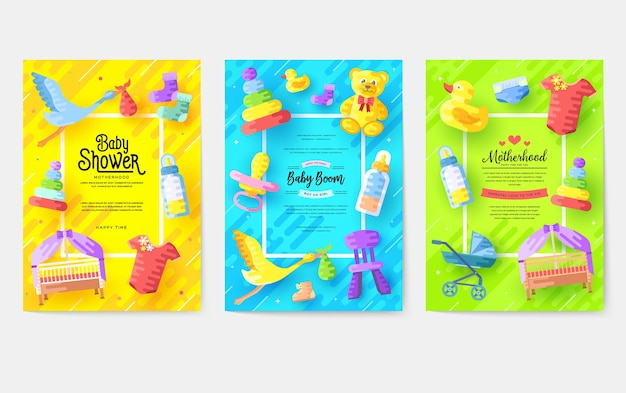 Kinderen elementen sjabloon van flyer illustratie Premium Vector