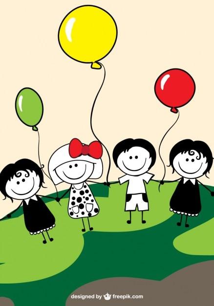 Kinderen en ballonnen vector Gratis Vector