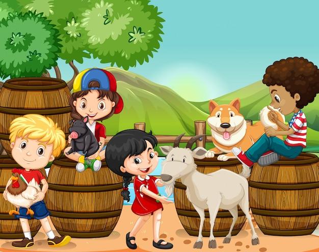 Kinderen en boerderijdieren Premium Vector
