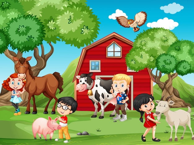 Kinderen en boerderijdieren Gratis Vector