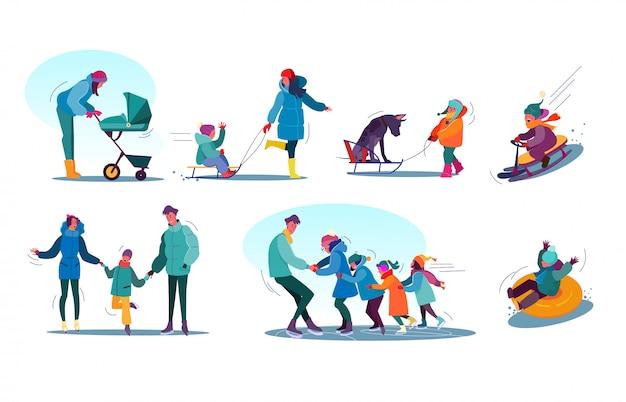 Kinderen en gezinnen winteractiviteiten ingesteld Gratis Vector
