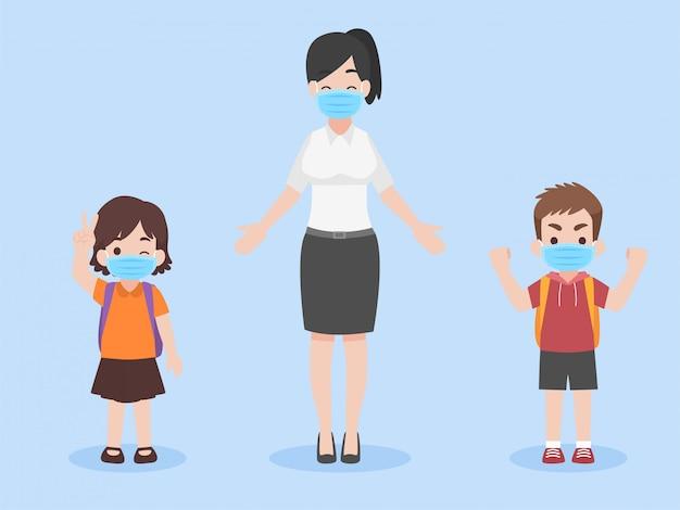 Kinderen en leraar in een nieuw normaal leven dragen een gezichtsmasker om coronavirus te voorkomen, terug naar schoolconcept. Premium Vector