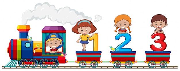Kinderen en nummer in de trein Gratis Vector