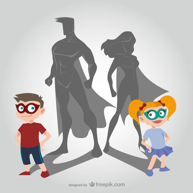 Kinderen en superhelden cartoons Gratis Vector