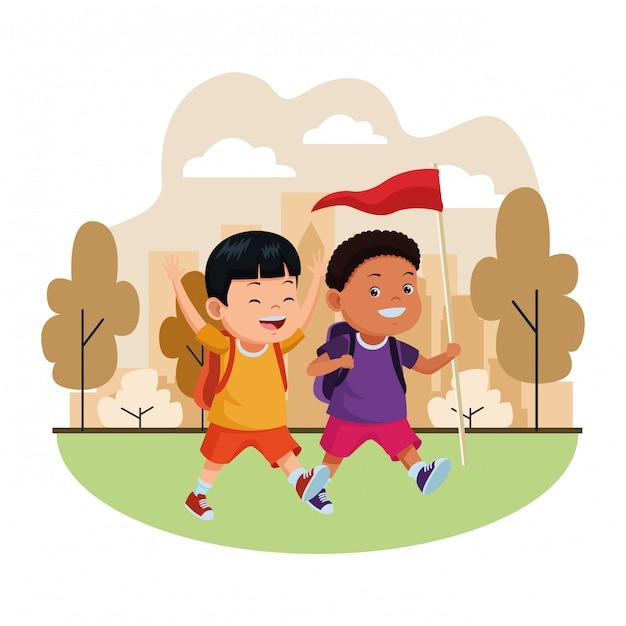 Kinderen en zomerkamp tekenfilms Premium Vector