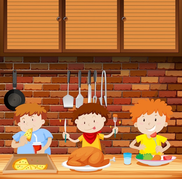 Kinderen eten samen een maaltijd Premium Vector