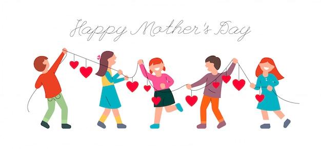 Kinderen feliciteren moeders met moederdag. kinderen en een slinger met harten. Premium Vector