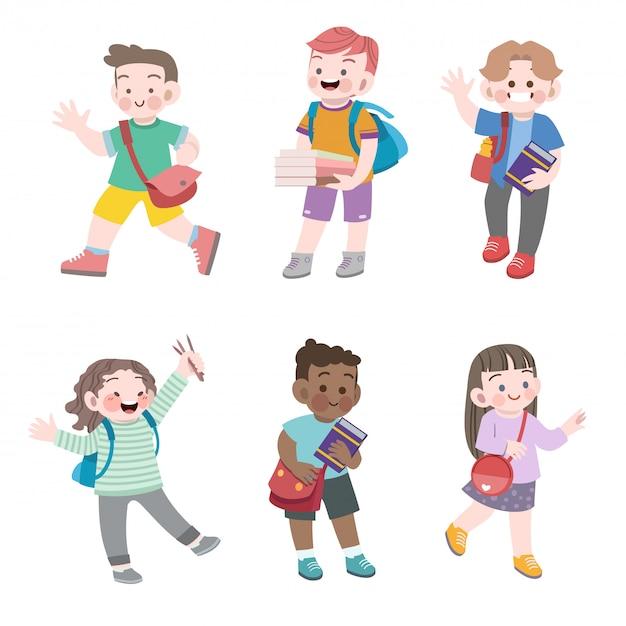 Kinderen gaan naar school vector illustratie set Premium Vector