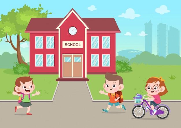 Kinderen gaan naar school vectorillustratie Premium Vector