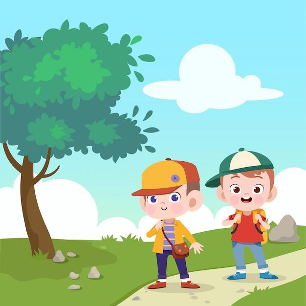 Kinderen gaan samen naar school vectorillustratie Premium Vector