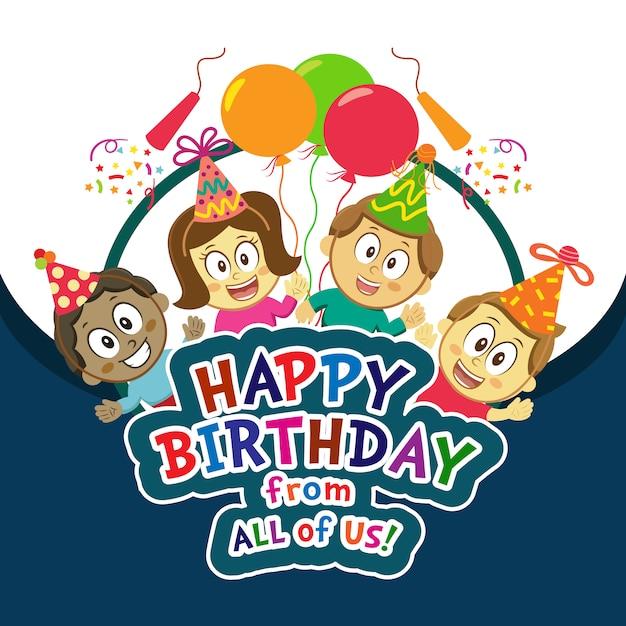 Kinderen Gelukkige Verjaardag Achtergrond Vector Premium Download