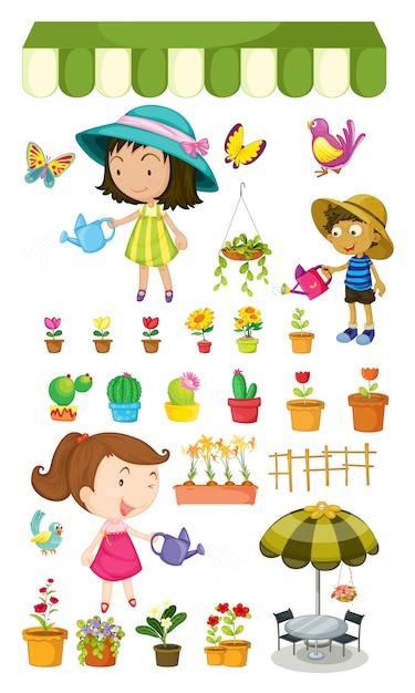 Kinderen geven de planten water Gratis Vector