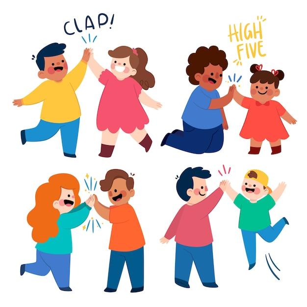 Kinderen geven high five illustratie Gratis Vector