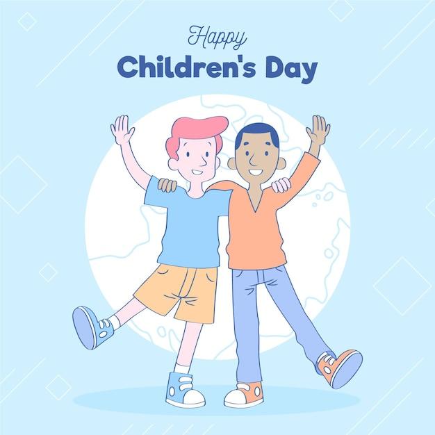 Kinderen houden van wereldkinderen dag Gratis Vector