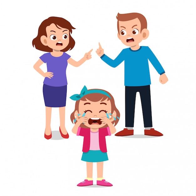 Kinderen huilen met ouders die tegen vechten Premium Vector