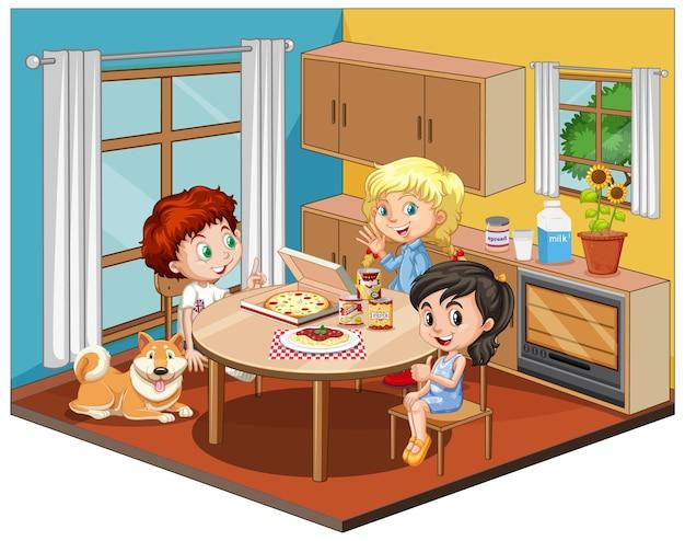 Kinderen in de eetkamer scène op witte achtergrond Gratis Vector