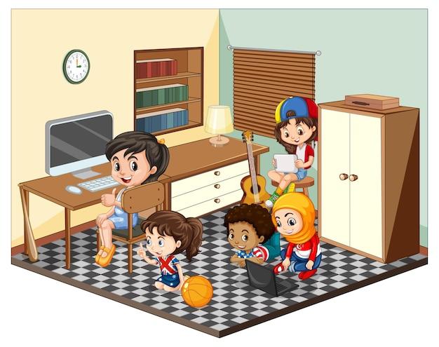 Kinderen in de huiskamerscène Gratis Vector