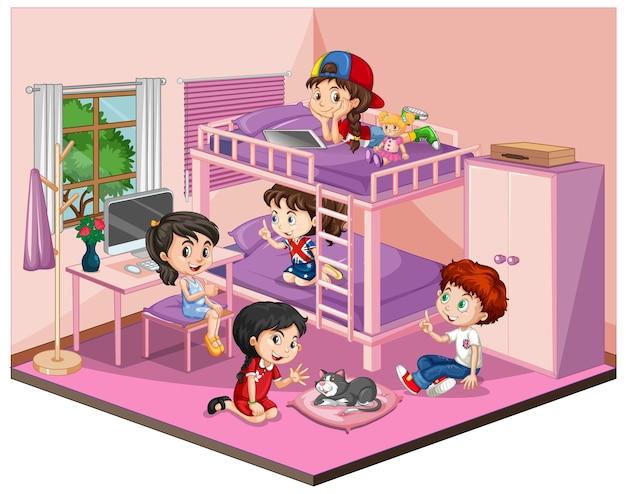 Kinderen in de slaapkamer in roze themascène op wit Premium Vector