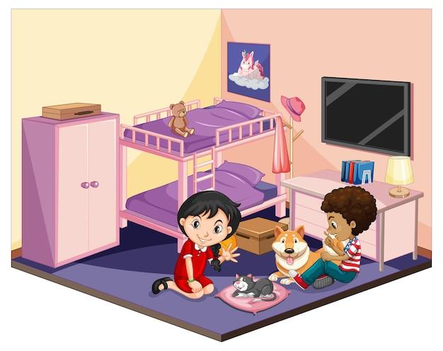 Kinderen in de slaapkamer in roze themascène Gratis Vector