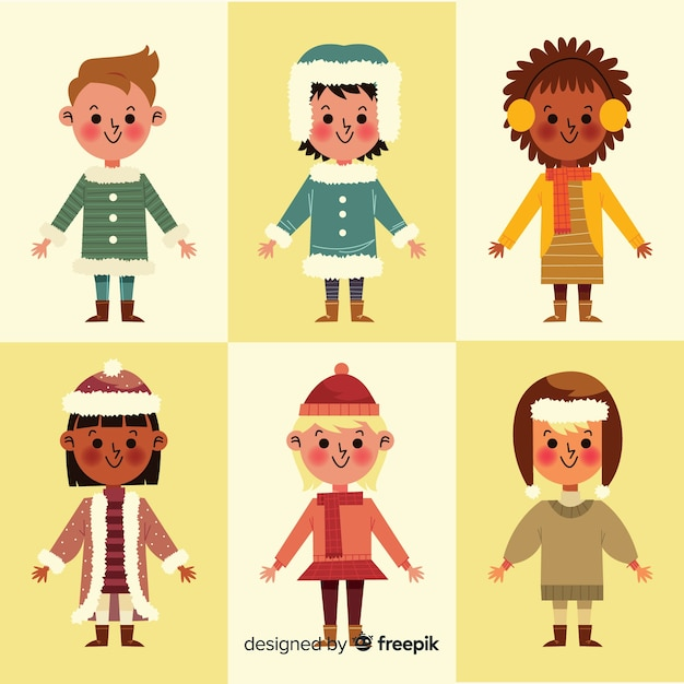 Kinderen in de winterkleren collectie Gratis Vector