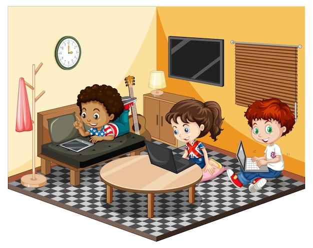 Kinderen in de woonkamer in gele themascène Gratis Vector