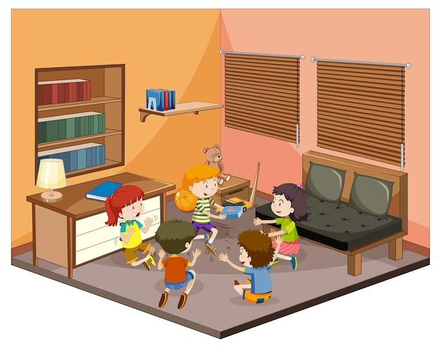 Kinderen in de woonkamer met meubels Gratis Vector