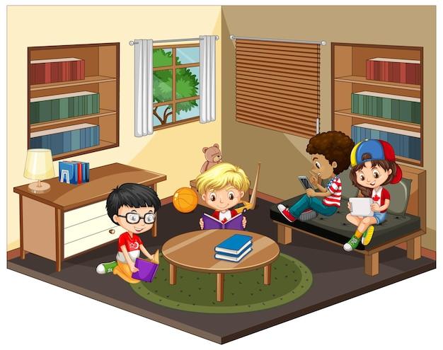 Kinderen in de woonkamer scène op wit Gratis Vector