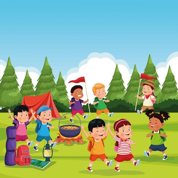 Kinderen in een campingzone Gratis Vector