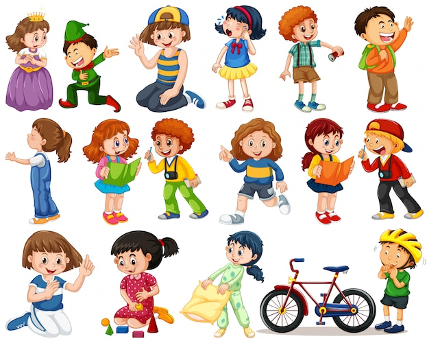 Kinderen in grote groep handelen onze verschillende rollen Gratis Vector