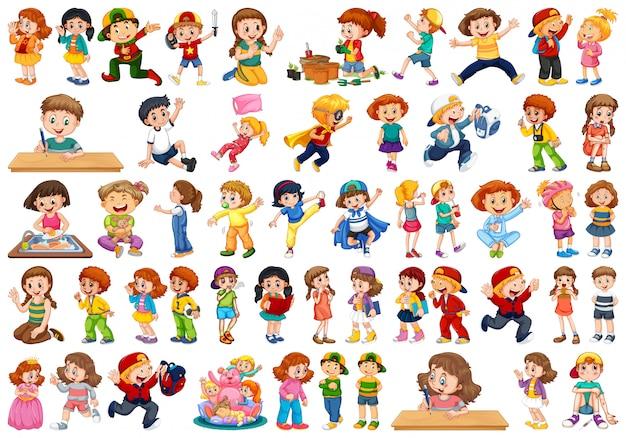Kinderen in grote groep handelen onze verschillende rollen Premium Vector
