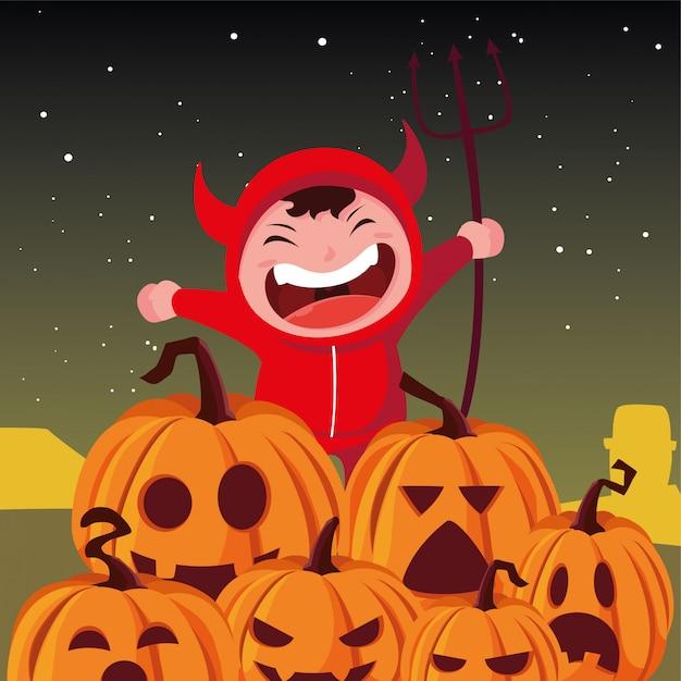 Kinderen in halloween-kostuums Premium Vector