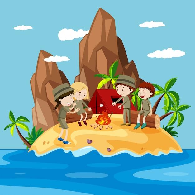 Kinderen kamperen op het eiland Gratis Vector