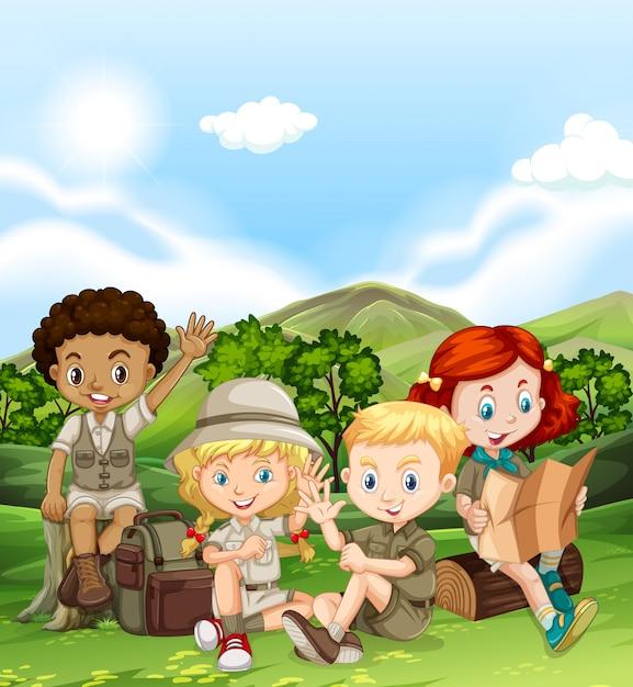 Kinderen kamperen overdag Gratis Vector