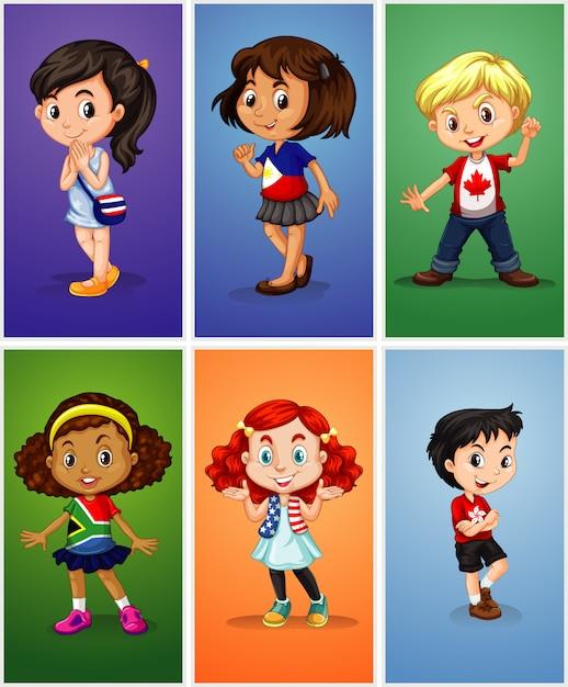 Kinderen karakters Gratis Vector