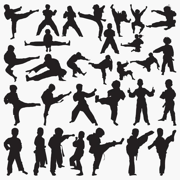 Kinderen karate silhouetten Premium Vector