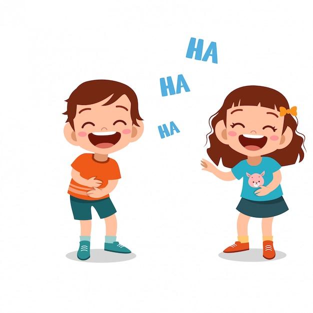 Kinderen kinderen samen lachen Premium Vector