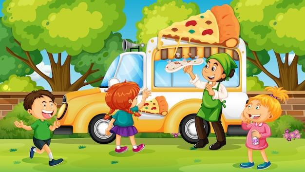 Kinderen kopen pizza van pizzawagen Gratis Vector