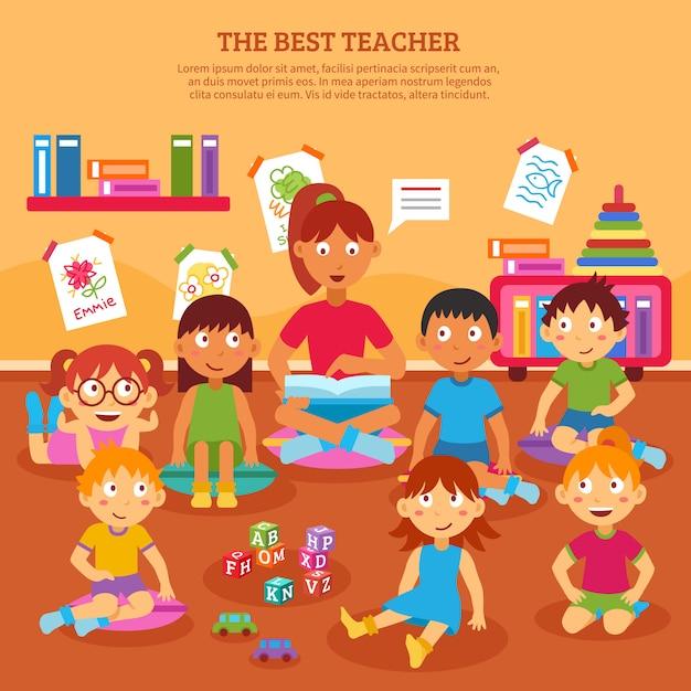 Kinderen leraar poster Gratis Vector
