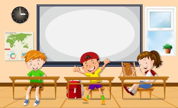 Kinderen leren in de klas Gratis Vector