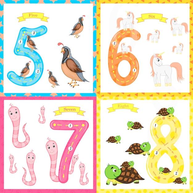 Kinderen leren tellen en schrijven. de studie van getallen Premium Vector