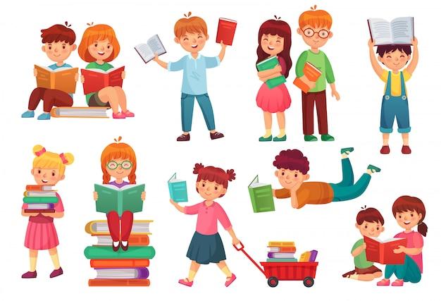 Kinderen lezen boek. de gelukkige boeken van de jong geitjelezing, meisje en jongens samen leren en jonge studenten geïsoleerde beeldverhaalillustratie die Premium Vector