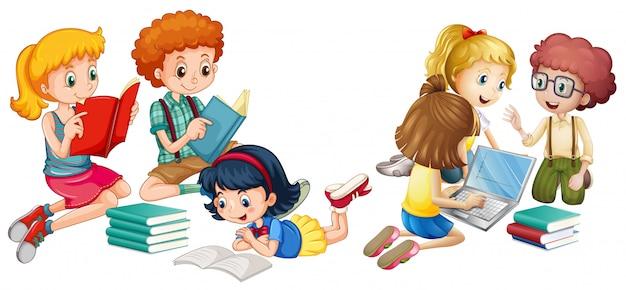 Kinderen lezen van boeken en werken op de computer Gratis Vector