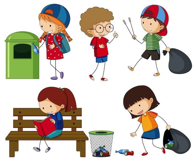 Kinderen maken het vuilnis schoon Gratis Vector