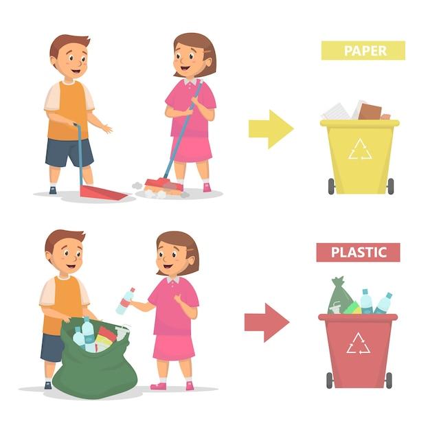 Kinderen maken schoon en gooien vuilnis naar het juiste vuilnisbakconcept Premium Vector