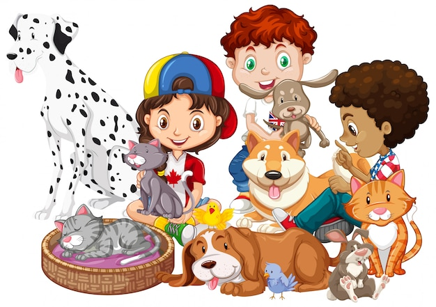 Kinderen met dieren geïsoleerd Gratis Vector