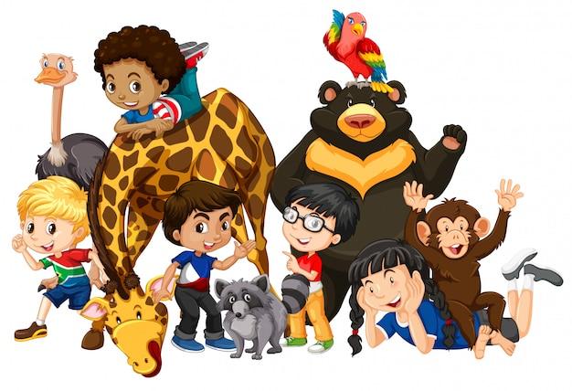 Kinderen met dieren geïsoleerd Premium Vector