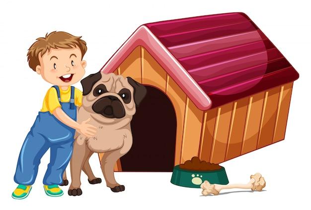 Kinderen met dieren op geïsoleerde achtergrond Gratis Vector