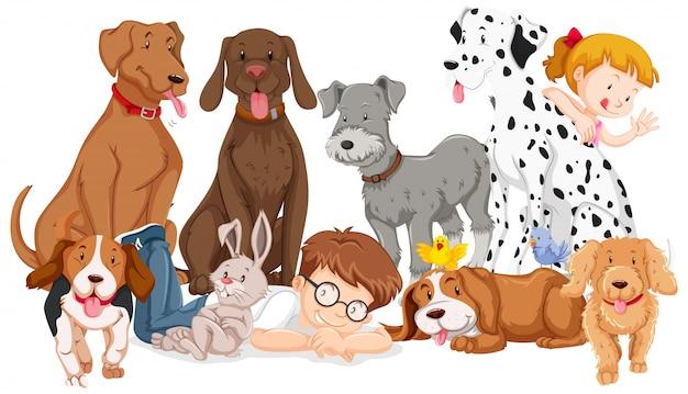 Kinderen met dieren op geïsoleerde Gratis Vector