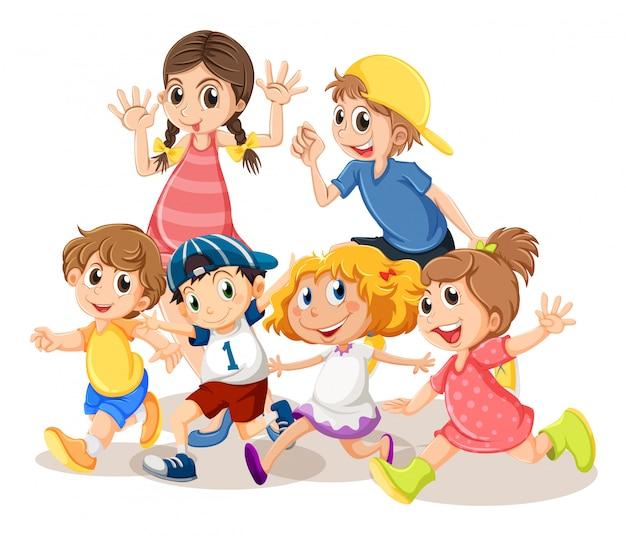 Kinderen met een blij gezicht Gratis Vector