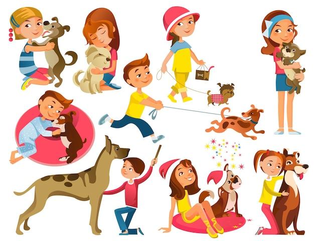 Kinderen met huisdieren instellen Premium Vector